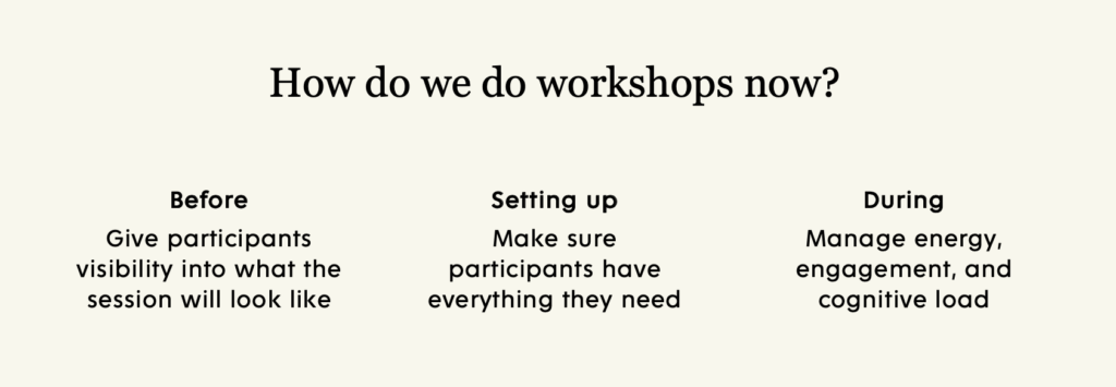 Approach to workshops