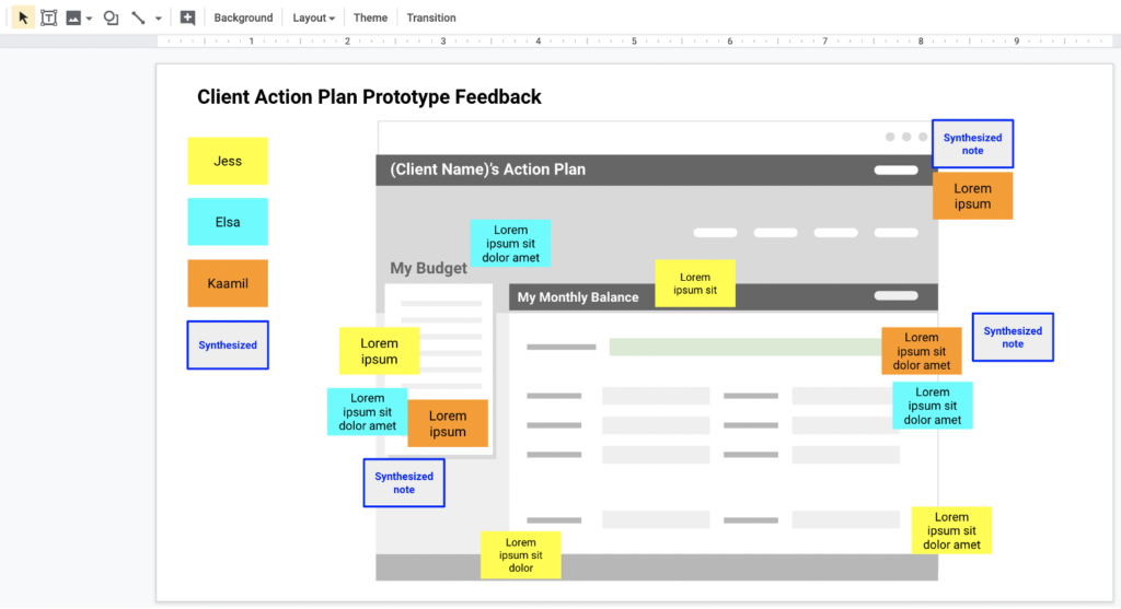 Client action plan prototype feedback