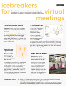 Icebreakers for virtual meetings | Bridgeable
