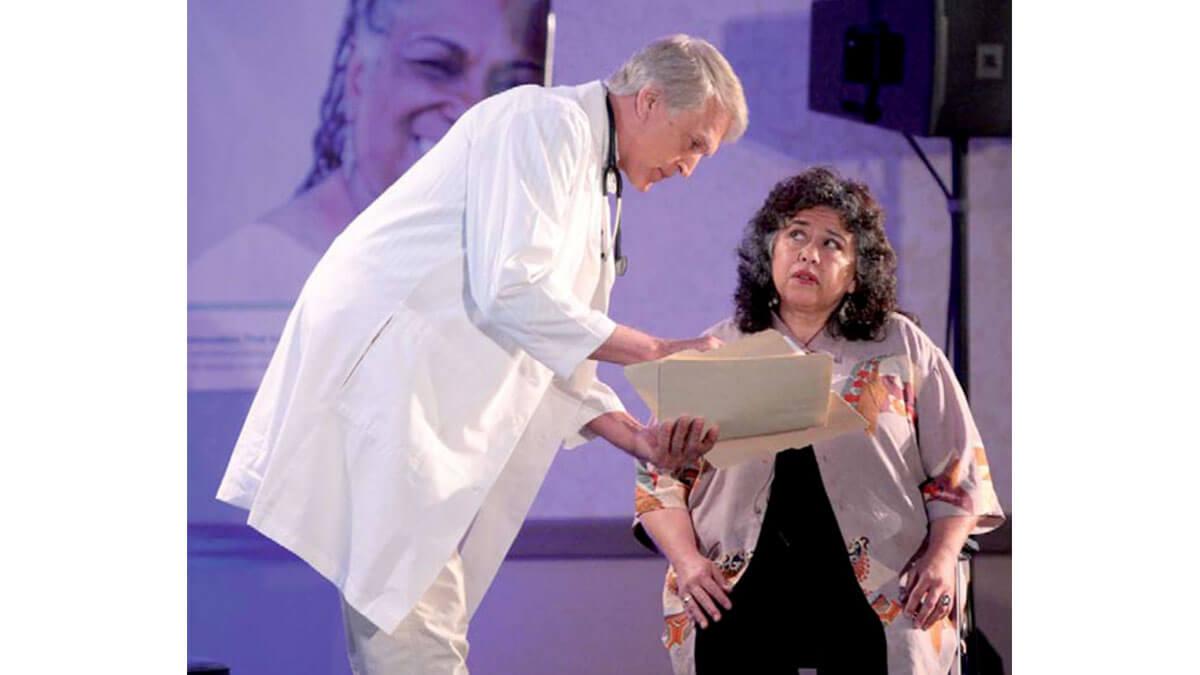 An actress conveys confusion over a physician's explanation of diabetes