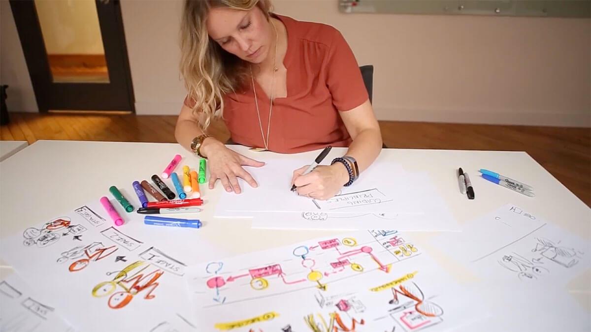 Illustrator creating artwork to communicate complex topics